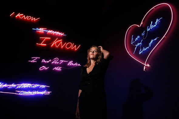 Tracey Emin with her neon works at the Hayward Gallery