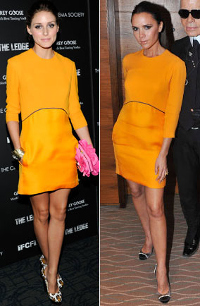 Olivia Palermo and Victoria Beckham in the same Victoria Beckham dress