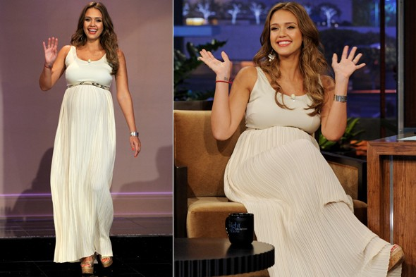 A pregnant Jessica Alba on the Tonight Show with Jay Leno in white dress