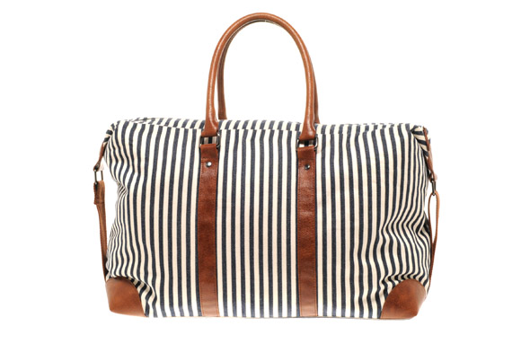 Ticking stripe holdall