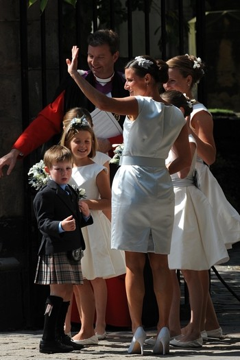 Zara Phillips' bridesmaids arrive at Canongate Kirk