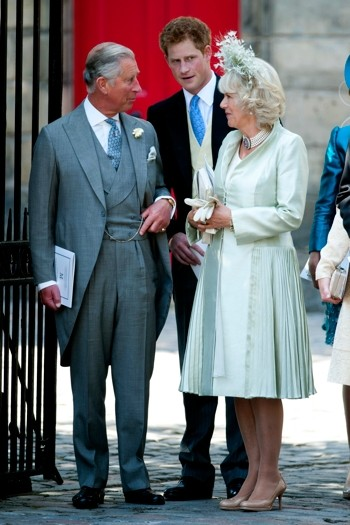 Prince Charles and Camilla leave the ceremony with Prince Harry