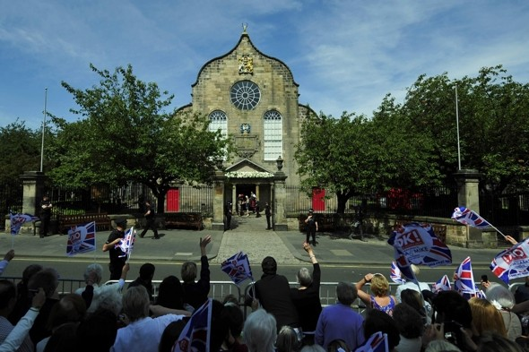 Crowds gather at the venue, Canongate Kirk