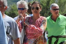 Catherine Zeta-Jones makes a splash in bright colour-clash kaftan