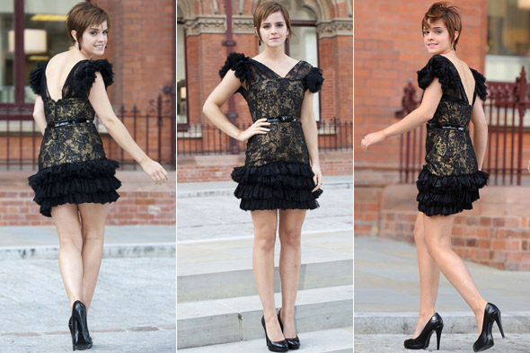 Emma Watson wears black Rafel Lopez dress to the Harry Potter and the Deathly Hallows Part 2 press conference