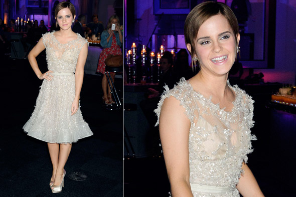 Emma Watson at the Harry Potter and the Deathly hallows part 2 world premiere after-party in Elie Saab couture
