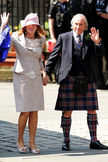 Jackie Stewart worked a kilt with wife Alexandra