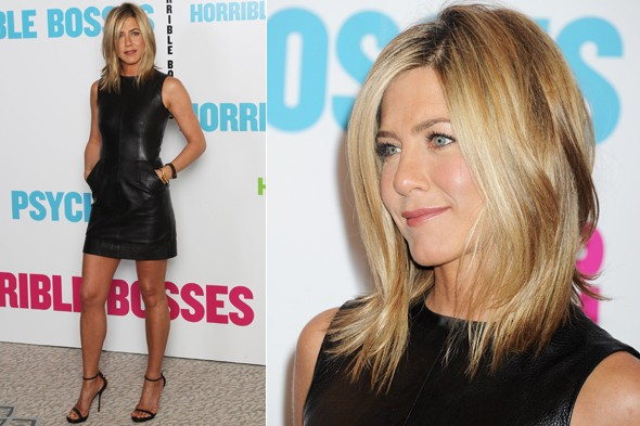 Jennifer Aniston in a black leather dress at the Horrible Bosses photocall and press conference at the Dorchester Hotel in London