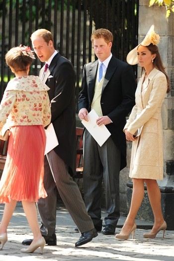 Duke and Duchess of Cambridge, Princess Anne and Prince Harry leave the church