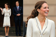 Duchess Kate wears Alexander McQueen dress during Canada tour