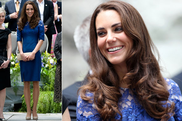 Duchess Kate wears blue Erdem dress in Montreal