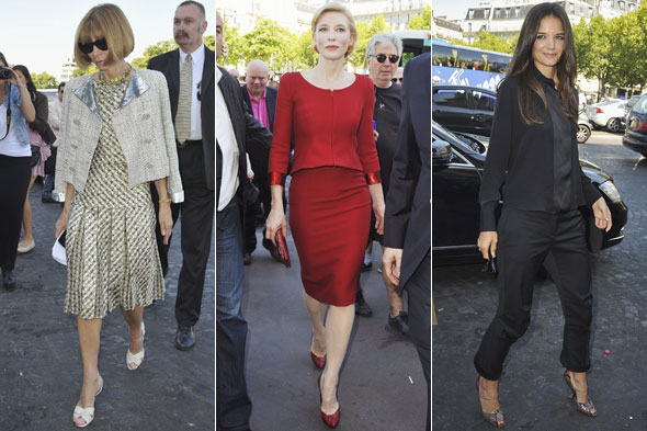 Anna Wintour, Cate Blanchett and Katie Holmes arriving at the Armani Prive couture autumn/winter 2011 show in Paris