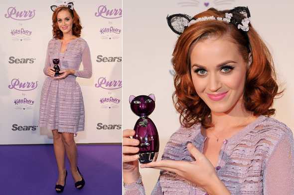 Katy Perry and her new red hair at the Purr fragrance launch in Toronto