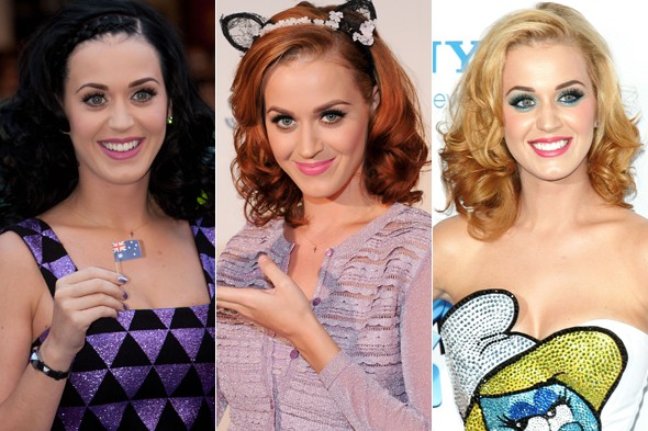 Katy Perry is gradually dying her hair blonde, from her famous black, stopping at red on the way