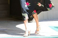 Miranda Kerr gets formal in florals for a family lunch