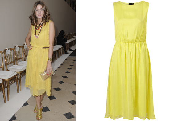 Olivia Palermo front row at the Giambattista Valli couture show in Paris in yellow Topshop dress