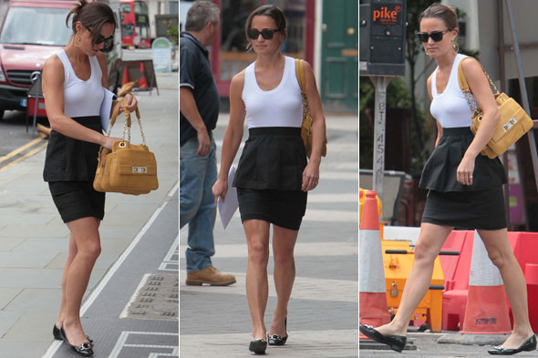 Pippa Middleton out on the King's Road in London in black and white dress