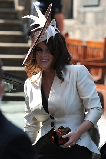 Princess Eugenie wore an oyster jacket by Angela Kelly
