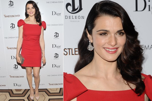 Rachel Weisz at The Whistleblower screening in a red dress
