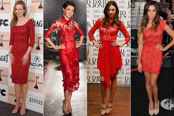 Lacy in red: Nicole Kidman, Dannii Minogue, Miranda Kerr and Ashley Tisdale have all tapped the trend. Photos:GettyImages/J'Aton Couture/Twitter
