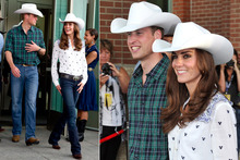 His 'n' hers cowboy hats for William and Kate in Calgary