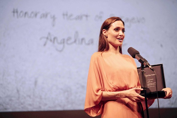 Angelina Jolie receives the Heart of Sarajevo award, at the Sarajevo Film Festival