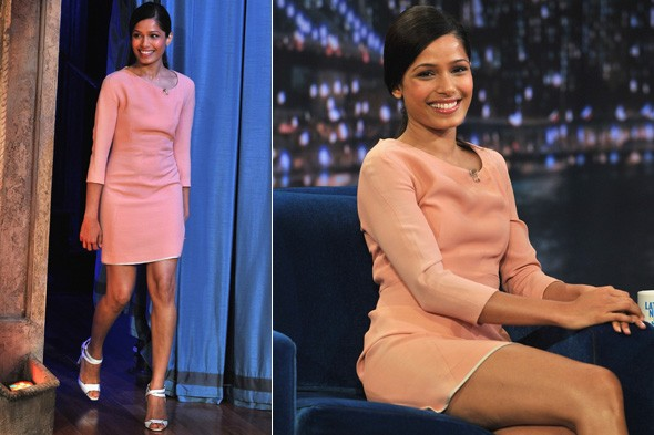 Freida Pinto wearing a Victoria Beckham dress on Late Night with Jimmy Fallon