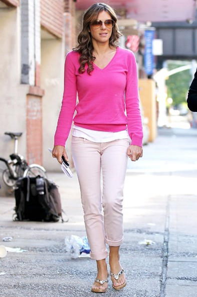 Pink lady: Liz Hurley returns to the Gossip Girl set