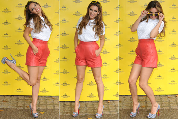 Kelly Brook at the Bulmers Cider Garden party in orange leather shorts