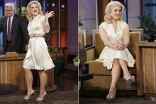 Kelly Osbourne pairs demure silk dress with metallic mega-platforms