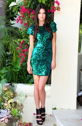 kendall-jenner-green-sequin-french-connection-dress