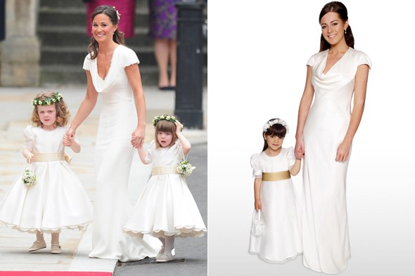 Spot the difference: Debenhams have released a royal replica of Pippa's bridesmaid dress. Photos:PA/Debenhams