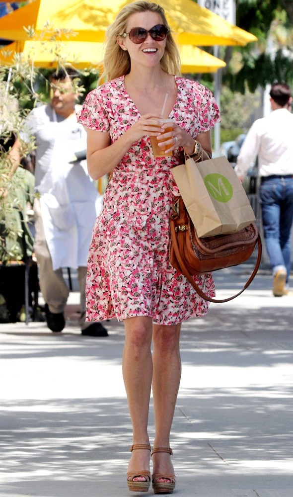 Reese Witherspoon In LA Wearing Pink Floral Dress And