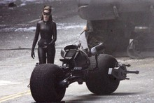 Anne Hathaway hits Dark Knight Rises set in leather Catwoman suit