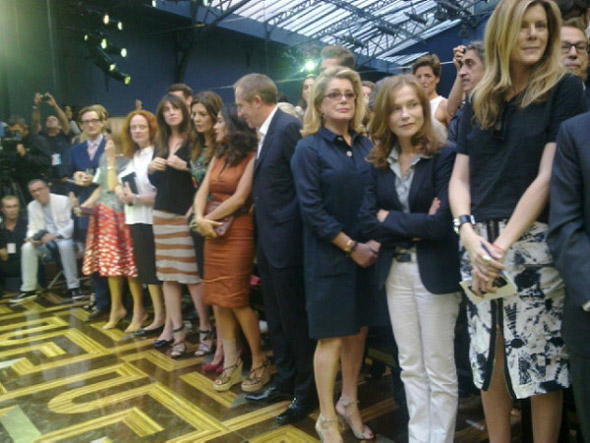 Standing ovation: Balenciaga bench collapse forces front row to their feet