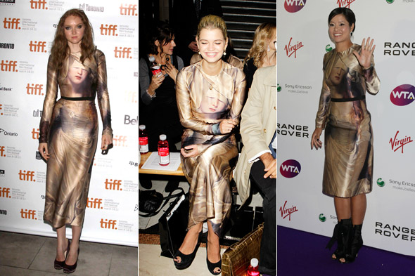 Fashion face-off: Lily Cole, Pixie Geldof and Li Na in Giles' Delaroche dress