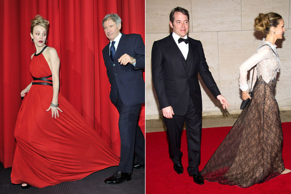 Harrison Ford stands on Rachel McAdams' dress and Matthew Broderick stands on Sarah Jessica PArker's dress