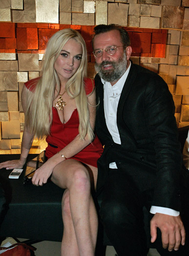 Lindsay Lohan and stylist Robert Rabensteiner at the Gareth Pugh afterparty