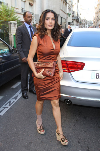 Salma Hayek arriving at Balenciaga