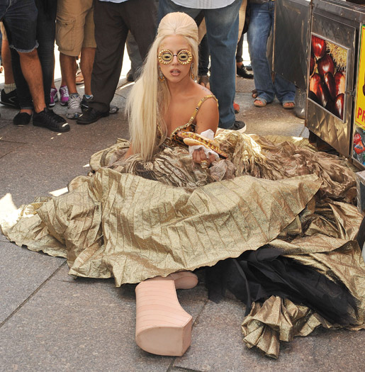 Lady Gaga falls down