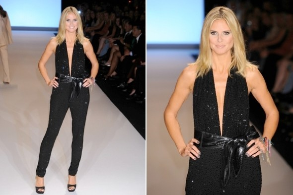 Heidi Klum dazzles on catwalk in black jumpsuit
