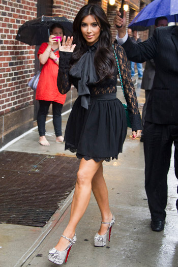 Kim Kardashian arrives for a taping of the Late Show with David Letterman