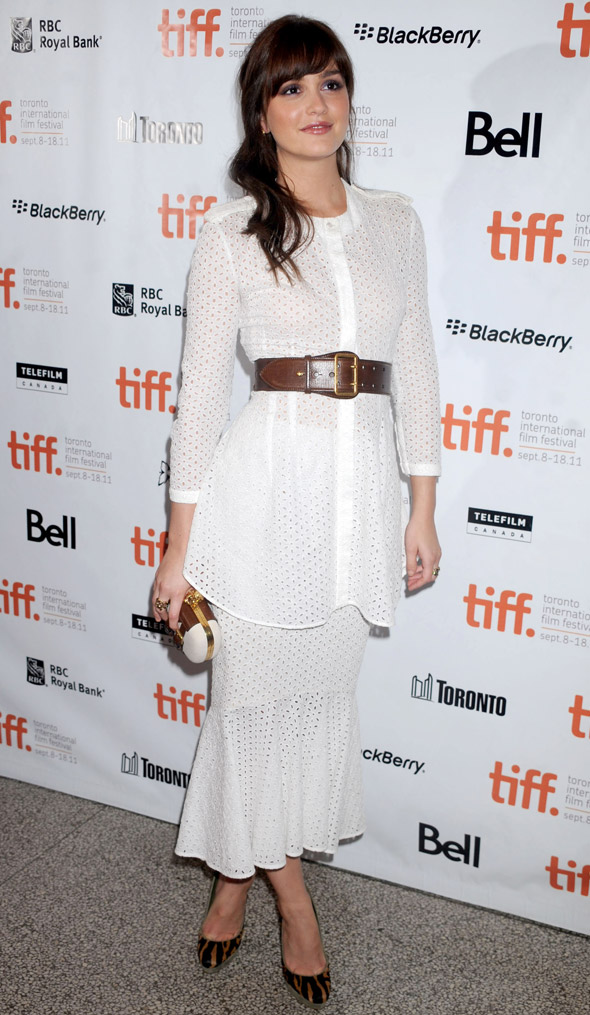 Hot or not: Leighton Meester's white layered tunic dress at TIFF
