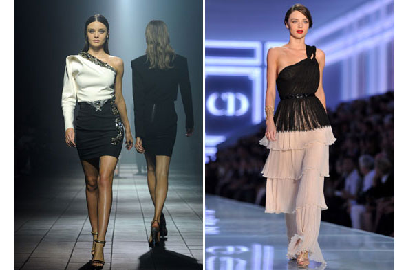 Miranda Kerr does fierce and feminine on the Christian Dior catwalk (and hubby Orlando Bloom sits front row)