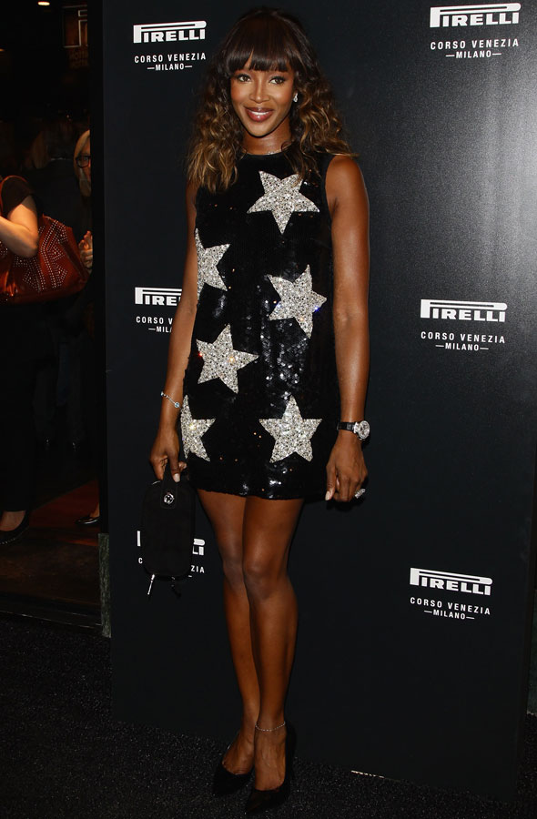 Naomi Campbell at the Pirelli store launch party in Milan