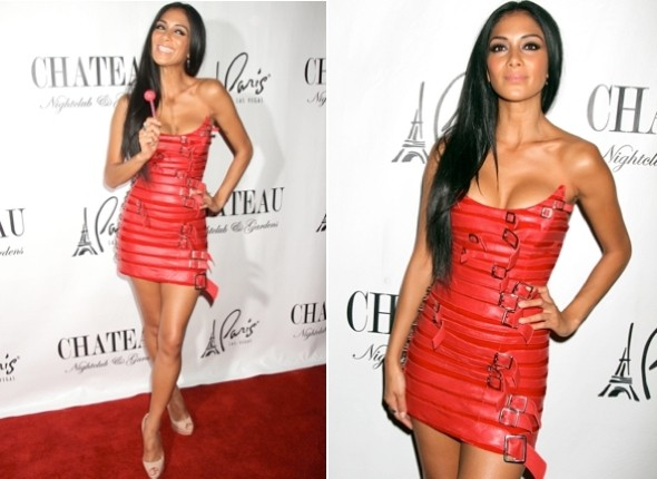 Hot or not: Nicole Scherzinger's sizzling scarlet belt minidress
