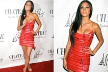 Hot or not: Nicole Scherzinger's sizzling scarlet belted minidress