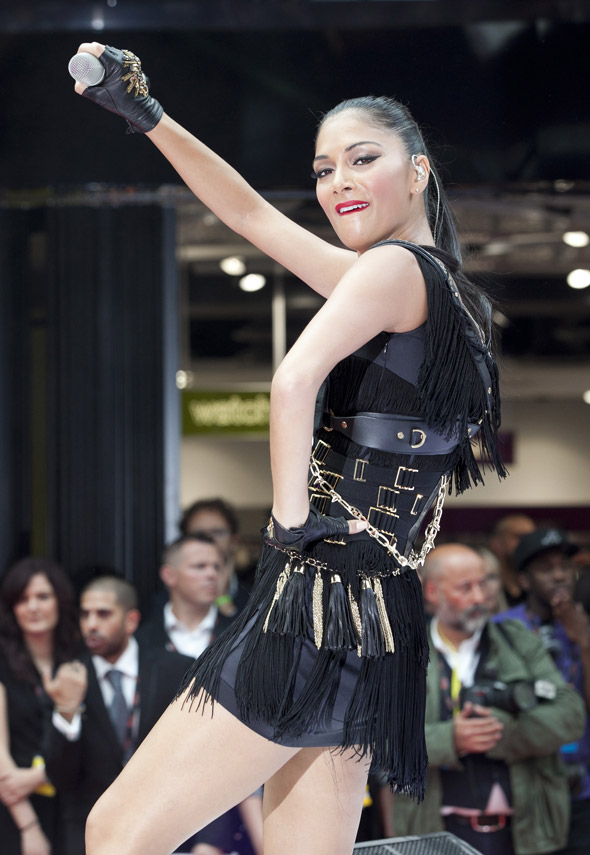 Nicole Scherzinger opens Westfield Stratford with leather and fringing