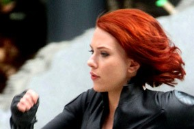 Scarlett Johansson as Natasha Romanoff in The Avengers