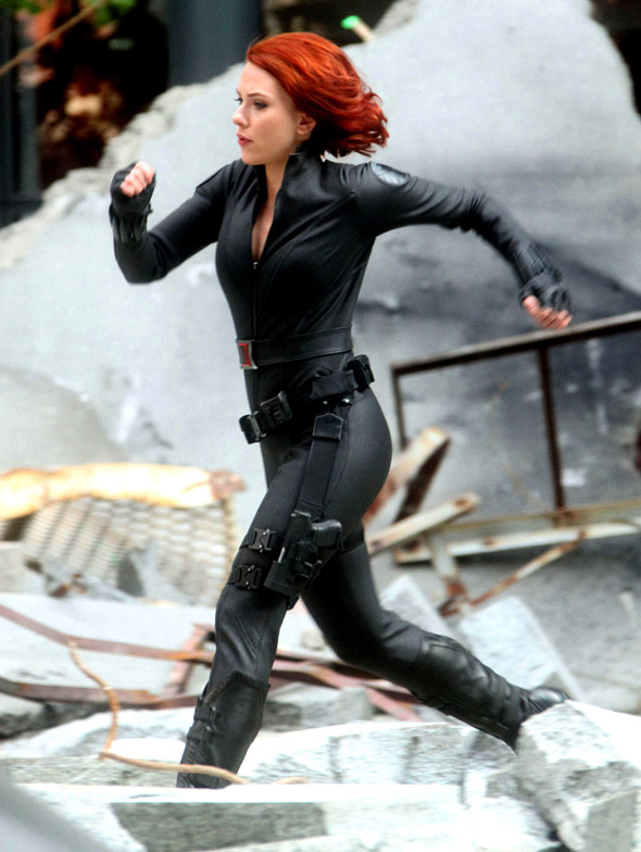 Scarlett Johansson as Natasha Romanoff on The Avengers set